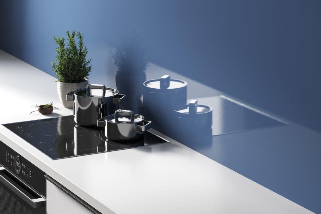 Prima Denim Splashback & White worktop Lifestyle