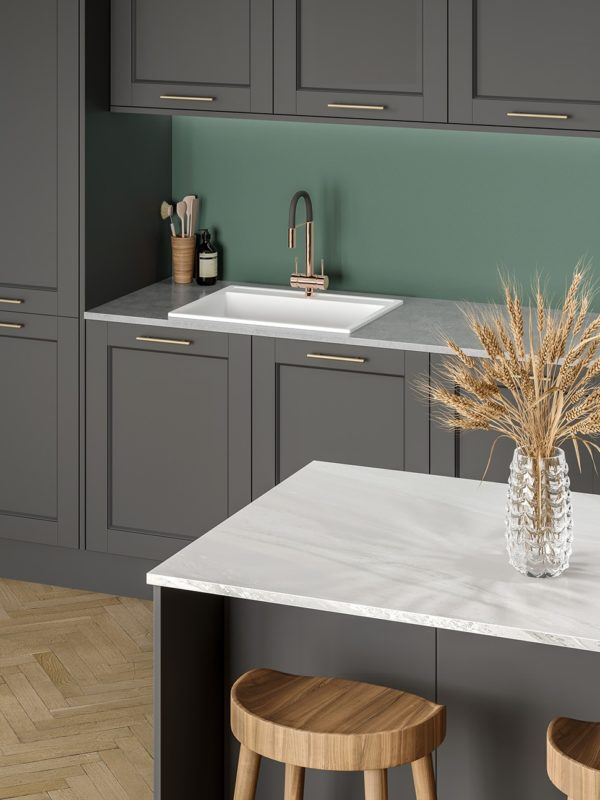 Axiom White Painted Marble & Elemental Concrete with Green Slate splashback Lifestyle